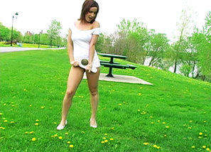 White dress outdoor solo Teasing 3